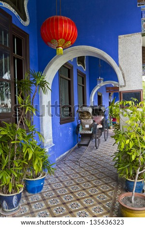Blue Mansion in Georgetown,  Malaysia. - stock photo