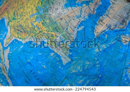 Blue Map Globe Pattern Background - stock photo