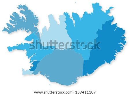Blue map of Iceland with regions with shadow. Projected in WGS 84 World Mercator (EPSG:3395) coordinate system. - stock photo