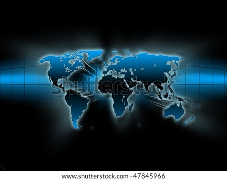 blue map of the world - stock photo