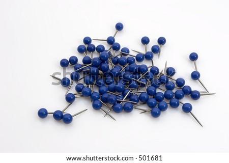 Blue map tacks - stock photo