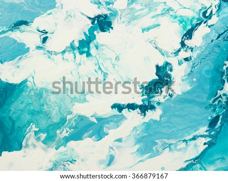 Blue marble texture. Creative background with abstract acrylic painted waves, handmade surface. Liquid paint. - stock photo