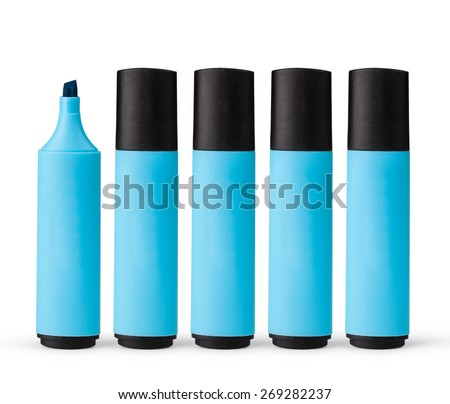 blue markers isolated on white background - stock photo