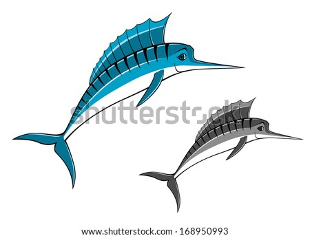 Blue marlin fish in cartoon style for fishing sports design or logo idea. Vector version also available in gallery - stock photo