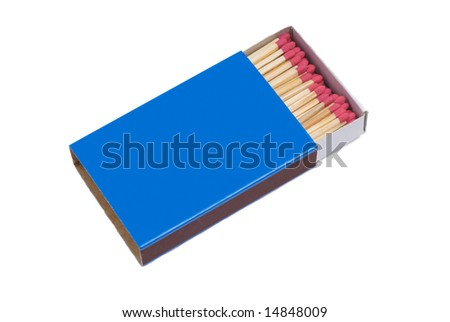 Blue Matchbox isolated on White Background - stock photo