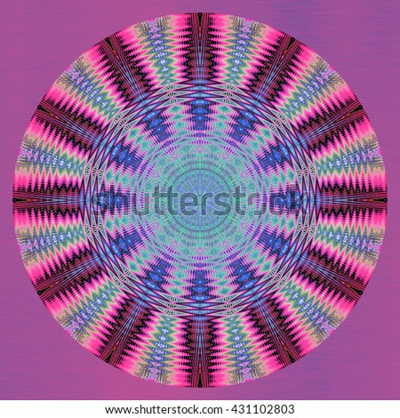 Blue mauve pink gray neon kaleidoscope twirl twist oval round background backdrop design pattern abstract art pieces mesmerizing spiral wheel pieces flower floral  - stock photo