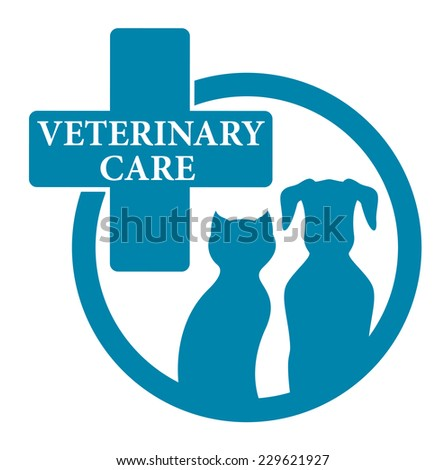 blue medical veterinary round sign with pet - stock photo