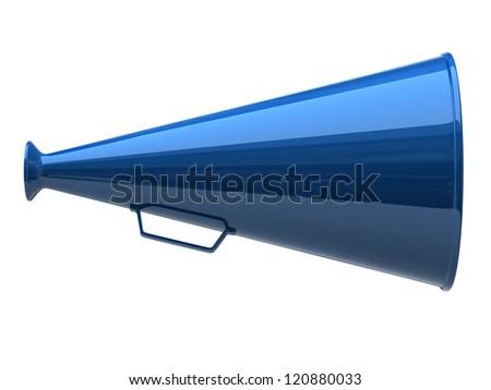 Blue megaphone icon on white background - stock photo