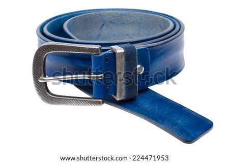 Blue men leather belt isolated on white background - stock photo