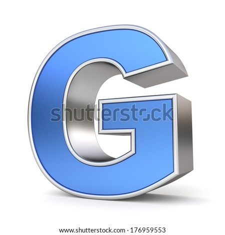 Blue metal alphabet 3D collection - letter G - stock photo
