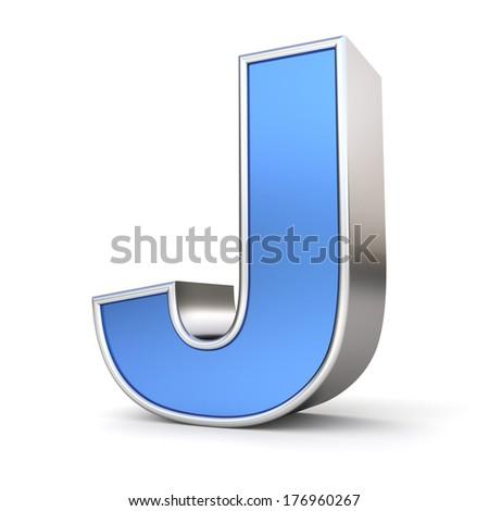 Blue metal alphabet 3D collection - letter J - stock photo