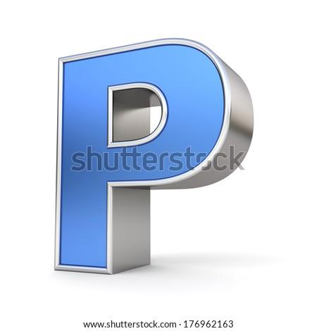 Blue metal alphabet 3D collection - letter P - stock photo