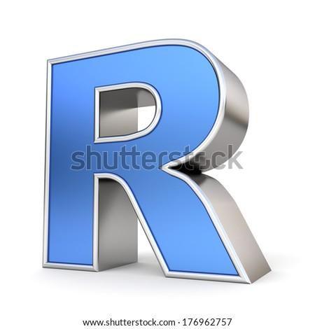 Blue metal alphabet 3D collection - letter R - stock photo
