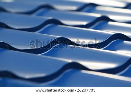 Blue metal tile - stock photo
