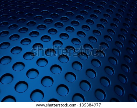 Blue metallic background with lot of perforated dots - stock photo