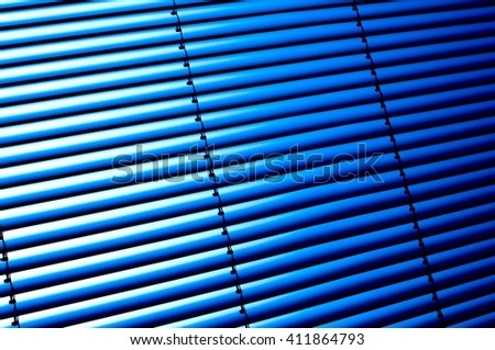 blue metallic blinds - stock photo