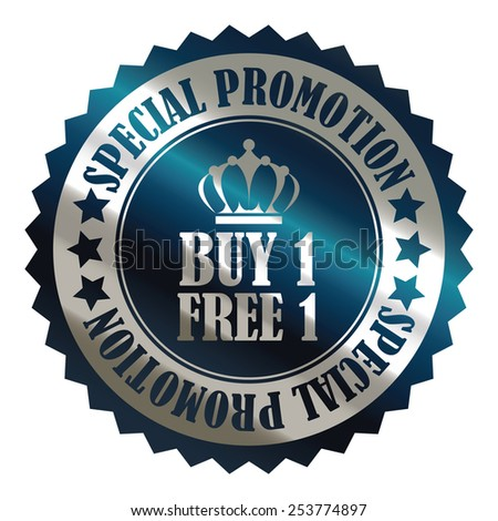 blue metallic buy 1 free 1 special promotion promotional sale icon, tag, label, badge, sign, sticker isolated on white  - stock photo