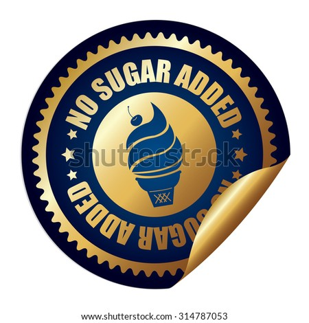 Blue Metallic Circle No Sugar Added Ice Cream Infographics Peeling Sticker, Label, Icon, Sign or Badge Isolated on White Background - stock photo