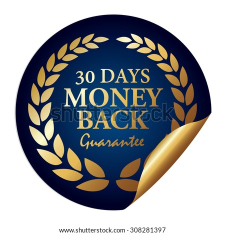 Blue Metallic 30 Days Money Back Guarantee Infographics Peeling Sticker, Icon, Sign or Label Isolated on White Background  - stock photo