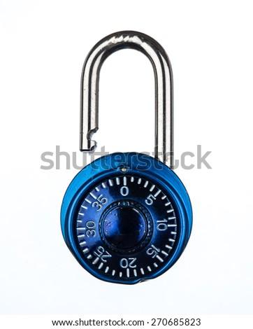 Blue metallic lock isolated on white background - stock photo