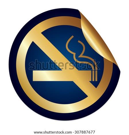 Blue Metallic No Smoking Prohibited Sign Infographics Peeling Sticker, Icon or Label Isolated on White Background  - stock photo