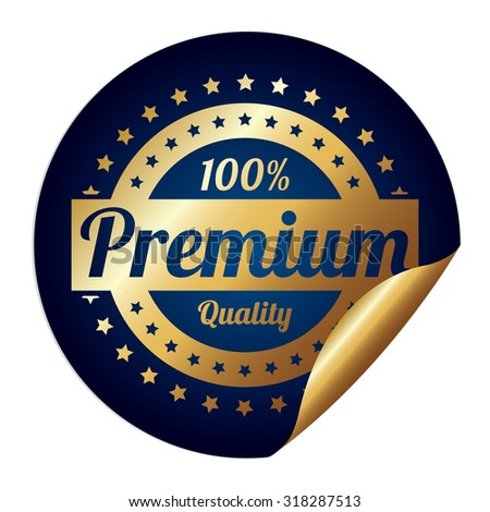 Blue Metallic 100% Premium Quality Infographics Peeling Sticker, Label, Icon, Sign or Badge Isolated on White Background  - stock photo
