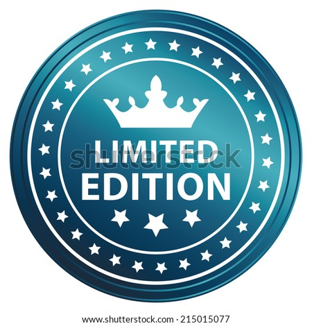 Blue Metallic Style Limited Edition Icon, Sticker, Badge or Label Isolated on White Background  - stock photo