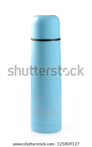 Blue Metallic thermos isolated on white background - stock photo