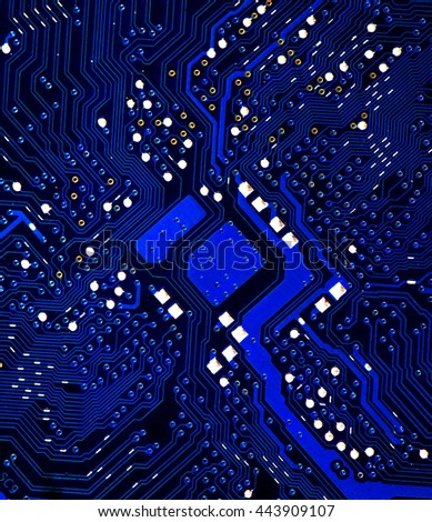blue microchip pcb board integrated circuit electric computer parts chip processor abstract background  - stock photo