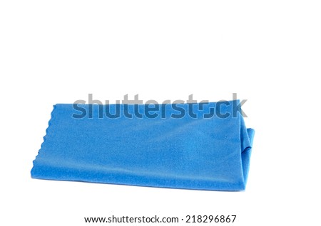 blue microfiber duster isolated on white - stock photo