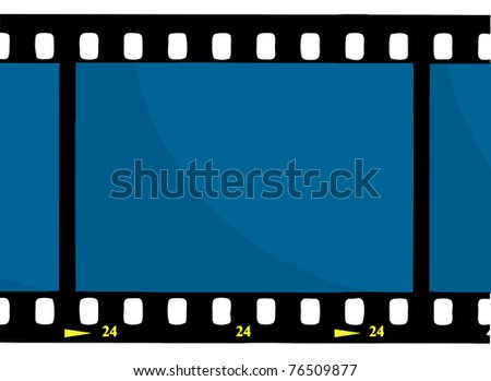 Blue 35 mm Movie Film Strip - stock photo