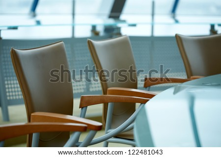 Blue modern boardroom meeting - stock photo