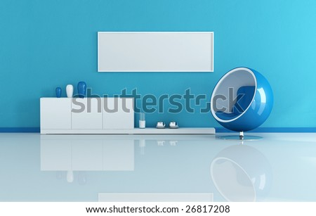 blue modern living room with blank canvas - stock photo