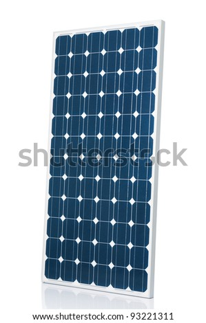 Blue modern solar panel isolated on white studio background - stock photo