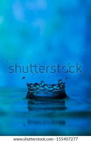 Blue monochrome tie dye water drop splash - stock photo