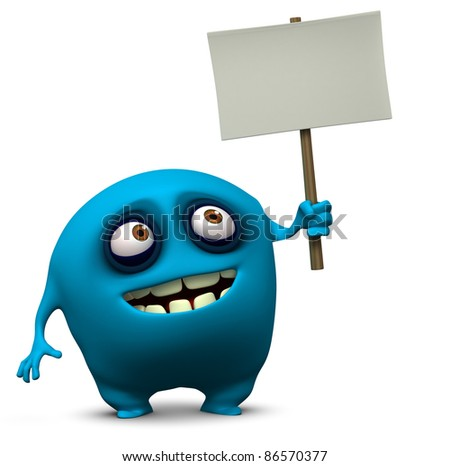 blue monster holding blank board - stock photo