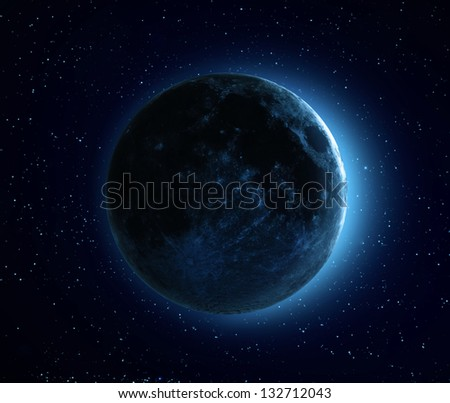 Blue Moon - high resolution CGI image of the Moon - stock photo