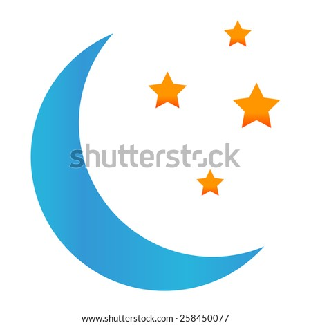Blue moon with stars on white background - stock photo