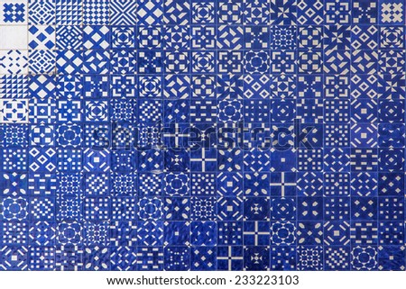 Blue mosaic azulejo texture in Lisbon. Geometrical shapes and patterns. - stock photo