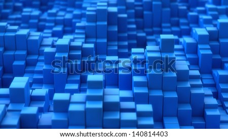 Blue mosaic surface with convex effect - stock photo