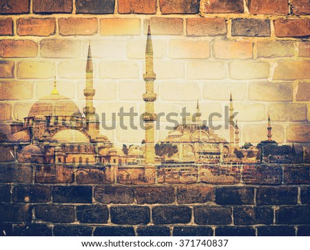 Blue Mosque and Hagia Sophia - travel to Istanbul.  Famous landmarks in old town - islam architecture in Turkey. Vintage photo with effect of double exposure on a brick wall background. - stock photo