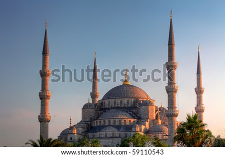 Blue Mosque, art masterpiece of Istanbul, Turkey. - stock photo
