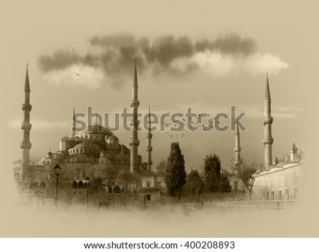 Blue mosque at sunset, Istanbul (Sultanahmet camii), Istanbul, Turkey. Watercolor sketch. - stock photo