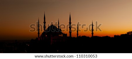 Blue Mosque at Sunset,Old City of Istanbul, Turkey - stock photo