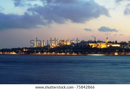 Blue Mosque, Hagia Sophia and Topkapi Palace; Popular Places in Istanbul - stock photo