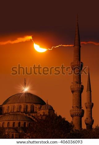 Blue mosque in glorius sunset, Istanbul, Sultanahmet - stock photo