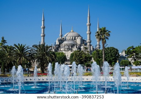 Blue mosque in Istanbul Turkey - stock photo
