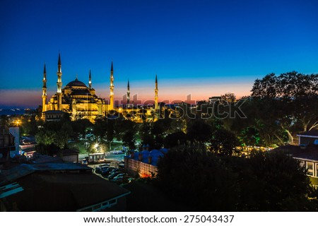 Blue Mosque in Istanbul, Turkey View at early evening - stock photo