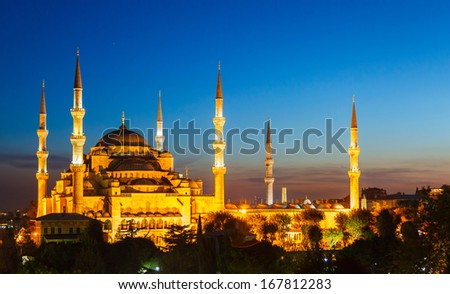 Blue Mosque in Istanbul, with beautiful sunset in background - stock photo