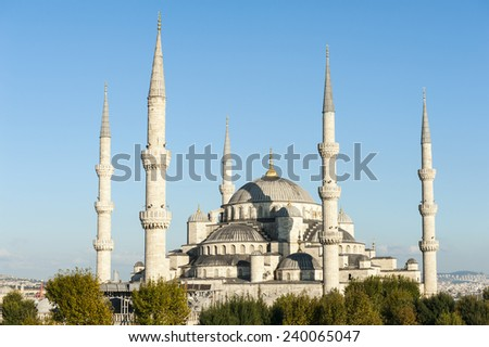 Blue Mosque lit by a evening sun, Istanbul, Turkey - stock photo